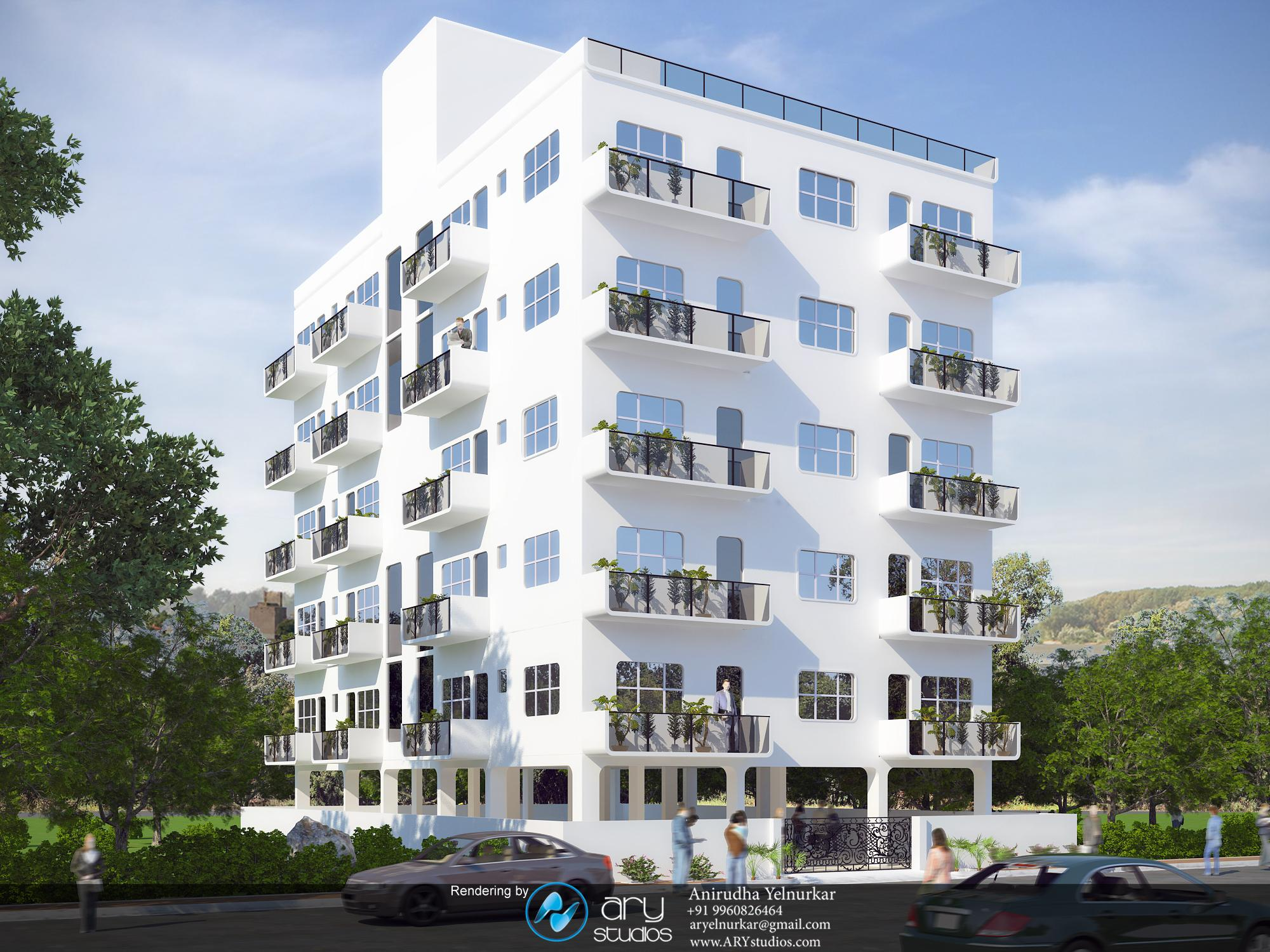 3d architectural rendering of modern apartment building Apartment building construction plans