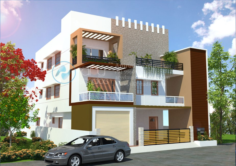3d+bungalow+rendering+architectural+day+view+realistic+kerala