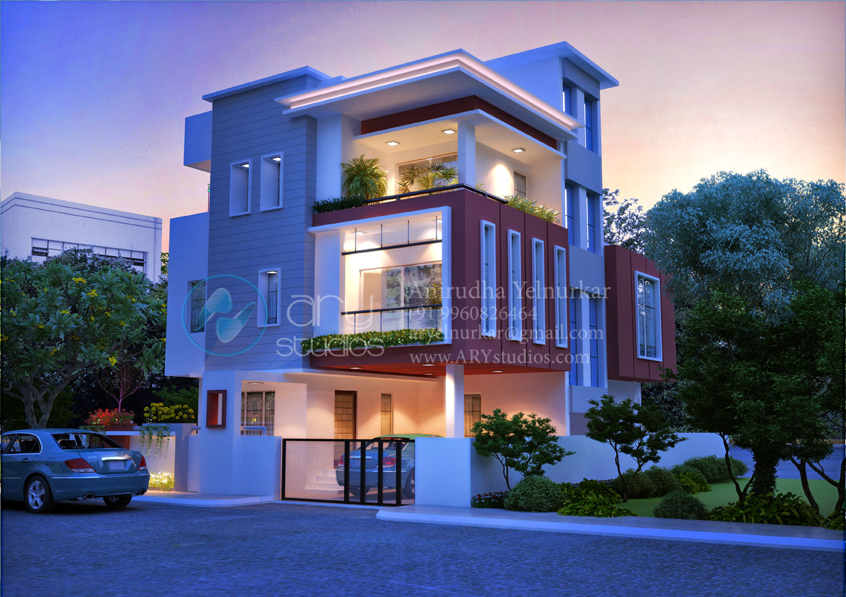 3d Home Rendering Architectural Evening View Realistic