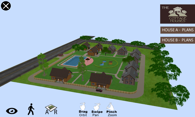 Demo App of 3D Exterior Walkthrough of Cottage Housing.